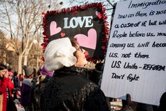 Ann Arbor Michigan 2018 Women`s March. On Saturday, January 20th, 2018, unite in Ann Arbor to rally again!! In response to overwhelming demand, the organizers of Stock Image