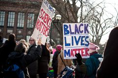 Ann Arbor Michigan 2018 Women`s March. On Saturday, January 20th, 2018, unite in Ann Arbor to rally again!! In response to overwhelming demand, the organizers of Stock Photo