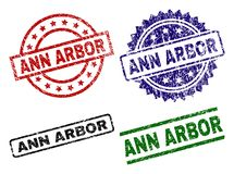 Scratched Textured ANN ARBOR Stamp Seals. ANN ARBOR seal prints with distress surface. Black, green,red,blue vector rubber prints of ANN ARBOR label with dust stock illustration