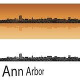 Ann arbor skyline. In orange background in editable vector file stock illustration