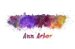 Ann Arbor skyline in watercolor. Splatters with clipping path royalty free illustration