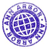 Grunge Textured ANN ARBOR Stamp Seal. ANN ARBOR stamp print with grunge style. Blue vector rubber seal print of ANN ARBOR caption with grunge texture. Seal has vector illustration