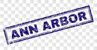 Grunge ANN ARBOR Rectangle Stamp. ANN ARBOR stamp seal imprint with rubber print style and double framed rectangle shape. Stamp is placed on a transparent vector illustration