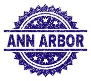 Scratched Textured ANN ARBOR Stamp Seal. ANN ARBOR stamp seal watermark with distress style. Blue vector rubber print of ANN ARBOR caption with unclean texture vector illustration