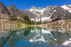 Ann lake. And mt.Shuksan,Washington stock images