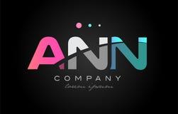 ANN a n n three letter logo icon design. ANN a n n three 3 letter logo combination alphabet vector creative company icon design template modern pink blue white royalty free illustration