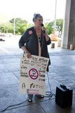 Ann S. Freed Supports Planned Parenthood. Pro-choice supporter Ann S. Freed speaks  at a women's rights rally at the Hawaii State Capitol in downtown Honolulu on Stock Photography