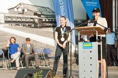 Anna Bligh congratulates hurdles Sally Pearson. GOLD COAST, AUSTRALIA - SEPTEMBER 19, 2011: Queensland premier Anna Bligh congratulates  2011 World Champion in Stock Image