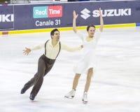 Anna Cappellini en Luca Lanotte tijdens het Italiaanse Kampioenschap 2018 royalty-vrije stock foto's