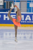 Anna Cherezova de Moldova executa o programa de patinagem livre das meninas da classe IV do ouro no campeonato nacional da patina Fotografia de Stock