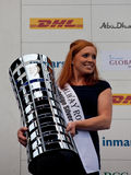 Anna de Paor holding the Volvo Ocean Race trophy Stock Images