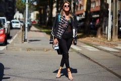 Anna Dello Russo pendant le Milan Fashion Week Photo libre de droits