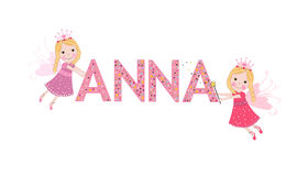 Anna female name with cute fairy Royalty Free Stock Image