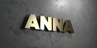 Anna - guld- tecken som monteras på den glansiga marmorväggen - 3D framförde den fria materielillustrationen för royalty vektor illustrationer