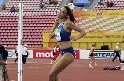 ANNA HALL de V.S., Amerikaanse spoor en gebiedsatleet op heptathlongebeurtenis in de IAAF-Wereld U20 stock foto's
