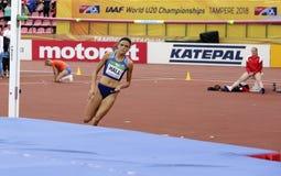 ANNA HALL de V.S., Amerikaanse spoor en gebiedsatleet op heptathlongebeurtenis in de IAAF-Wereld U20 royalty-vrije stock afbeeldingen