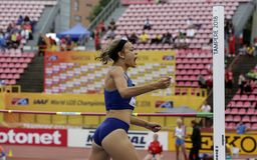ANNA HALL LOS E.E.U.U., atleta americano en acontecimiento del heptathlon en el mundo U20 de IAAF fotografía de archivo libre de regalías