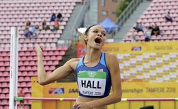 ANNA HALL USA, american track and field athlete on heptathlon event in the IAAF World U20. TAMPERE, FINLAND, July 12: ANNA HALL USA, american track and field royalty free stock photography