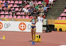 ANNA HALL USA, american track and field athlete on heptathlon event in the IAAF World U20. TAMPERE, FINLAND, July 12: ANNA HALL USA, american track and field royalty free stock image