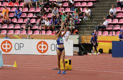ANNA HALL USA, american track and field athlete on heptathlon event in the IAAF World U20. TAMPERE, FINLAND, July 12: ANNA HALL USA, american track and field stock images