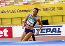 ANNA HALL USA, american track and field athlete on heptathlon. TAMPERE, FINLAND, July 12: ANNA HALL USA, american track and field athlete heptathlon event on stock photography