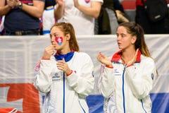 Anna Karolina Schmiedlova en Viktoria Kuzmova stock afbeelding