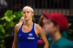 Anna Karolina Schmiedlova, pendant jeu rond du groupe II du monde le premier entre l'équipe Lettonie et l'équipe Slovaquie image libre de droits