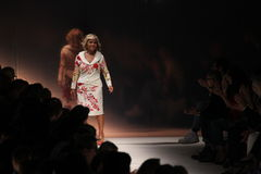 Anna Molinari walks the runway during the Blumarine show as a part of Milan Fashion Week. MILAN, ITALY - SEPTEMBER 19: Anna Molinari walks the runway during the Stock Image