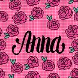 Anna Name kort med älskvärda rosa rosor också vektor för coreldrawillustration royaltyfri illustrationer