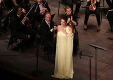 Anna Netrebko al DES Champs-Elysees, Parigi del teatro, può 10, 2015 Fotografie Stock