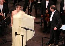 Anna Netrebko bij theatre des champs elysees, Parijs, kan 10, 2015 Stock Foto