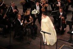 Anna Netrebko på teaterdes Champs-Elysees, Paris, kan 10, 2015 Royaltyfria Foton