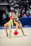 Anna Rizatdinova with ball Royalty Free Stock Images
