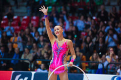Anna Rizatdinova performing with hoop Stock Photo