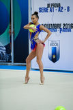 Anna Rizatdinova performs with ball Royalty Free Stock Photo