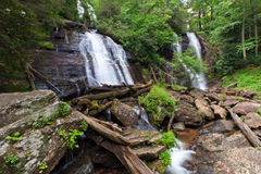Anna Ruby Falls. Rare double waterfall in north georgia with Curtis and York creeks falling to form Smith Creek. Unicoi state park stock photo