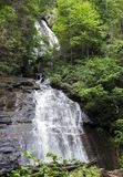 Anna Ruby Falls waterfall in North Georgia, USA. Vertical composition. Anna Ruby Falls is located near Unicoi State Park in White County near Helen, Georgia stock photos