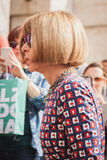 Anna Wintour outside Ferragamo fashion show building for Milan Women's Fashion Week 2014 Royalty Free Stock Images