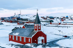 Annaassisitta Oqaluffia, church of our Saviour in Historical center of Nuuk, Greenland. Annaassisitta Oqaluffia, church of our Saviour in Historical center of stock photo