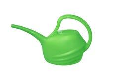 Annaffiatoio verde del plastik isolato su bianco Fotografia Stock Libera da Diritti