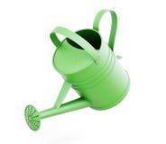 Annaffiatoio verde su fondo bianco 3d rendono i cilindri di image Fotografia Stock