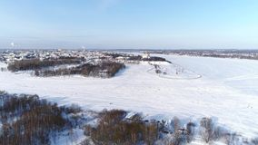 Annahme-Kathedrale in Yaroslavl Aero Panorama mit Blick auf die Wolga und den zentralen Stadtteil Winter stock video