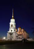 Annahmekathedrale bei Vladimir in der Nacht Stockfotografie