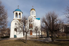 Annahmekirche und Glockenturm in Malaya Okhta. St. Petersburg. lizenzfreie stockbilder