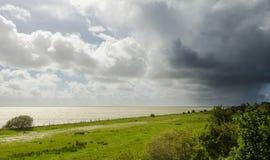 Annalkande rainshower i våren, Friesland, net arkivbilder