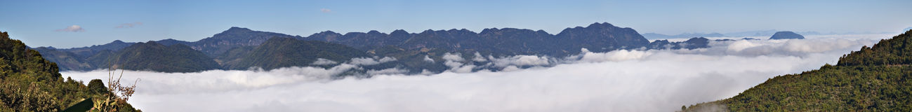 Annam Highlands mountain range in Laos. Above the clouds on the Annam Highlands mountain range in Laos Royalty Free Stock Photos