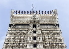 Annamalaiyar Temple, top of eastern gopuram in Thiruvannamalai. Annamalaiyar Temple in Thiruvannamalai is dedicated to Lord Shiva. The top of eastern gopuram stock photography
