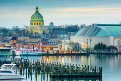 Annapolis on the Chesapeake. Annapolis, Maryland, USA town skyline at Chesapeake Bay with the United States Naval Academy Chapel dome Royalty Free Stock Image