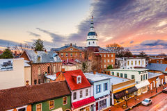 Annapolis, Maryland, USA. Downtown view over Main Street with the State House Royalty Free Stock Photo