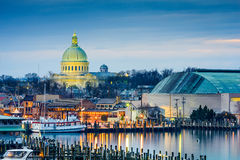 Annapolis Skyline. Annapolis, Maryland, USA town skyline at Chesapeake Bay with the United States Naval Academy Chapel dome Stock Photography